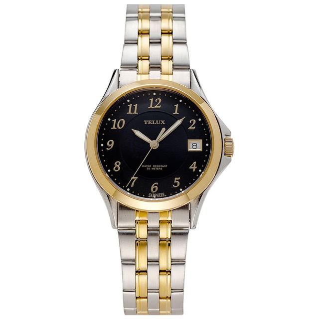 台灣品牌手錶腕錶【TELUX鐵力士】經典紳士腕錶40MM台灣製造石英錶7006TG-BK22中金黑面