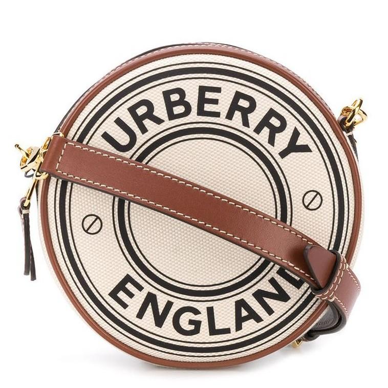 Burberry 80276021 小型標誌圖案帆布 Peggy 圓餅包