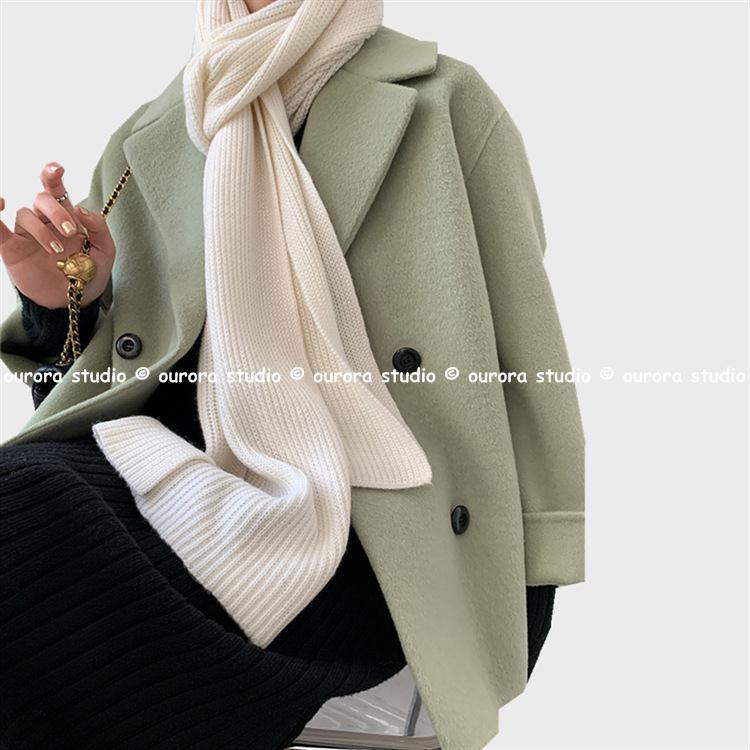 「ourora studio」高端韓劇女主既視感 西裝領短雙面羊絨大衣 簡約通勤毛呢外套秋冬