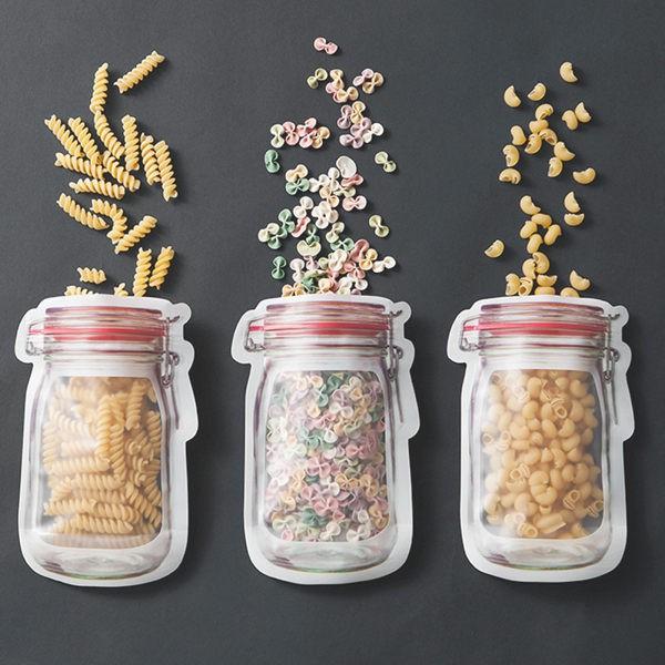 「台灣現貨」 梅森瓶透明夾鏈袋 旅行收納袋 收納袋 夾鏈袋 防塵袋 旅行收納 保鮮袋 透明袋 密封袋