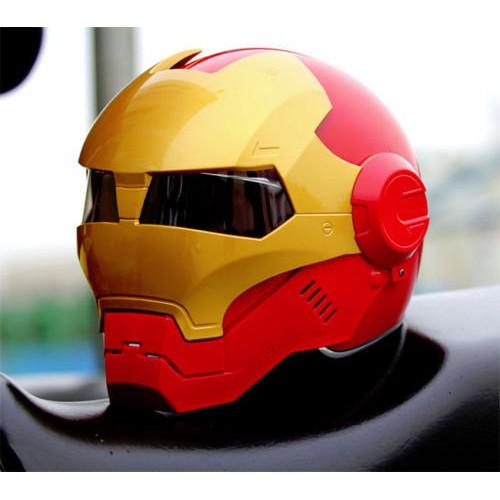 (限量特價)鋼鐵人安全帽 Masei 610 3/4安全帽 IRON MAN 面罩可掀 (紅金色)