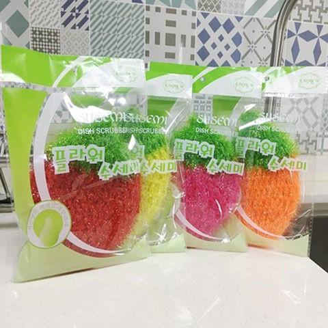 (韓國洗碗巾)(潔布)韓國正品草莓不粘油洗碗巾絲光洗碗布去污刷百潔布清潔廚房抹布