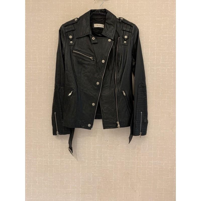 全新MON'S個性顯瘦帥氣騎士風腰帶黑色羊皮皮衣外套