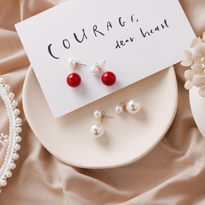 韓國時尚簡約珍珠流蘇耳釘 耳環