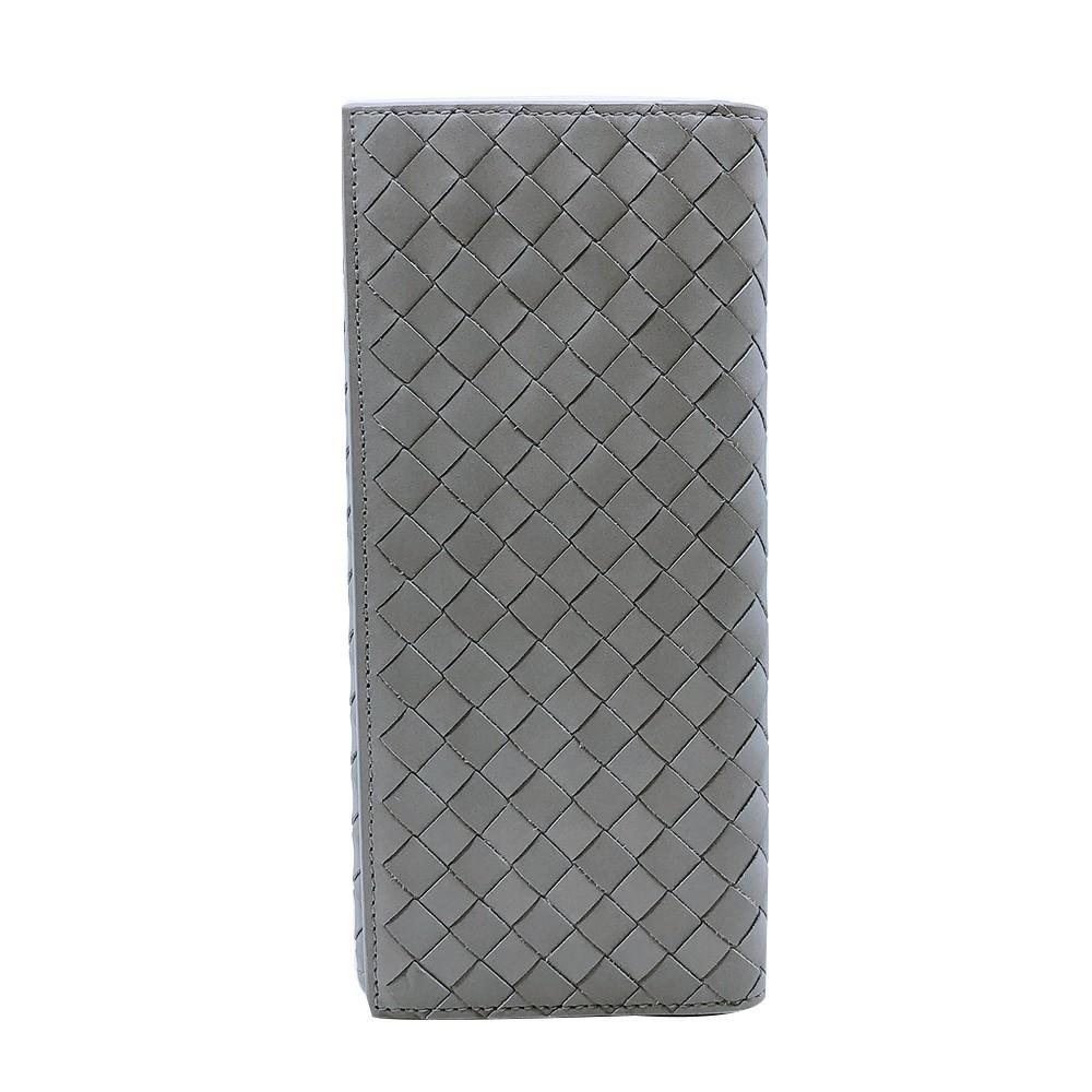 BOTTEGA VENETA 經典編織小羊皮折疊手拿長夾(120697-灰)