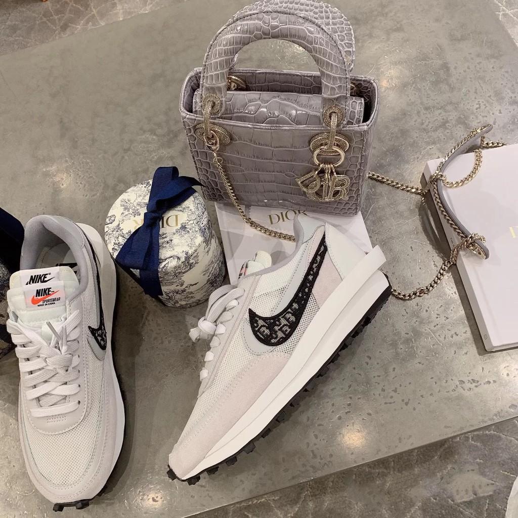 NIke x Sacai x Dior聯名 華夫迪奧 雙勾 雙鞋舌休閒慢跑鞋 透明呼吸網紗 男女休閒鞋 厚底鞋