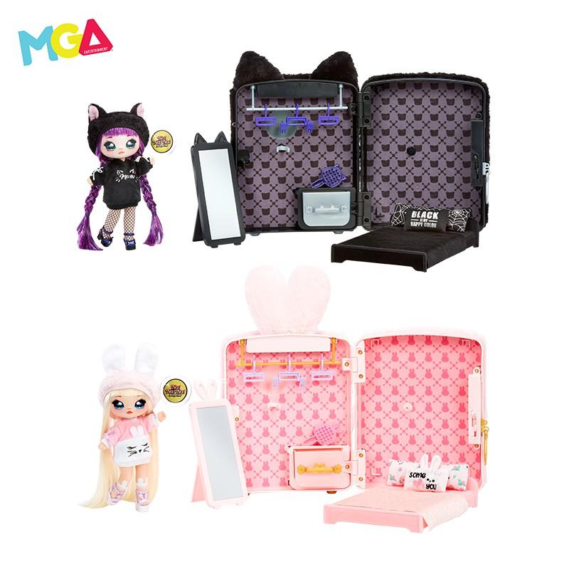 【盒玩系列】nanana新款驚喜娜娜娜毛絨背包套裝精致可動美發布娃娃女孩玩具包