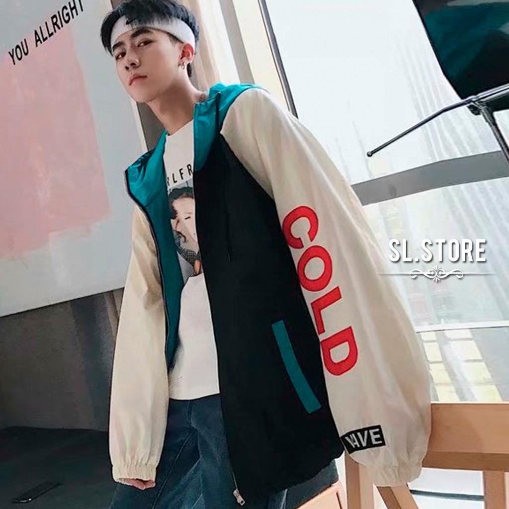 文字COLD撞色落肩連帽風衣.SL Store【CBF1845】紫/黑/M/L/XL/2XL