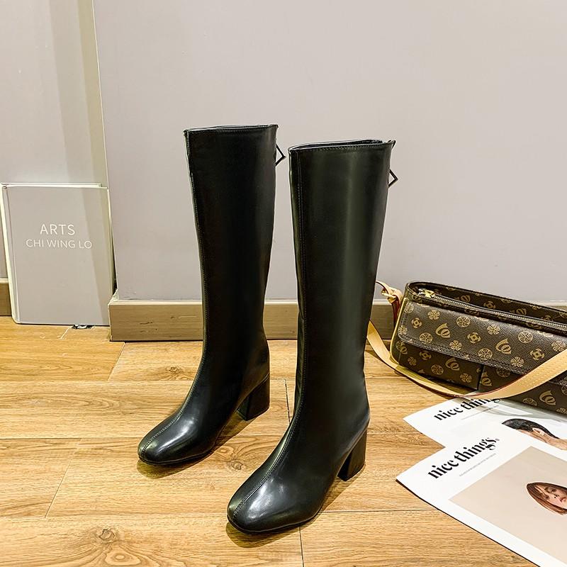 現貨長靴女不過膝秋冬季新款騎士靴粗跟長筒靴高筒靴加絨軟皮靴子