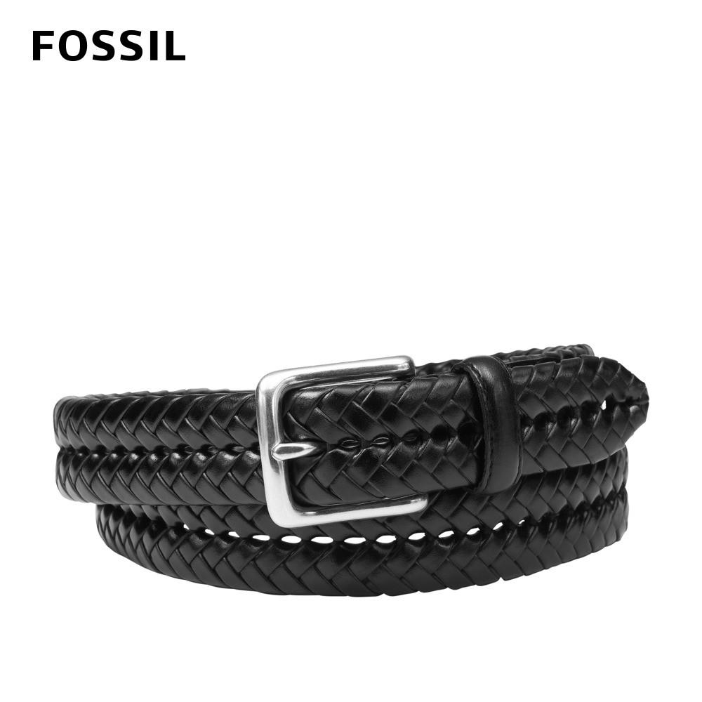 FOSSIL Maddox 編織真皮皮帶 黑色 MB3040001