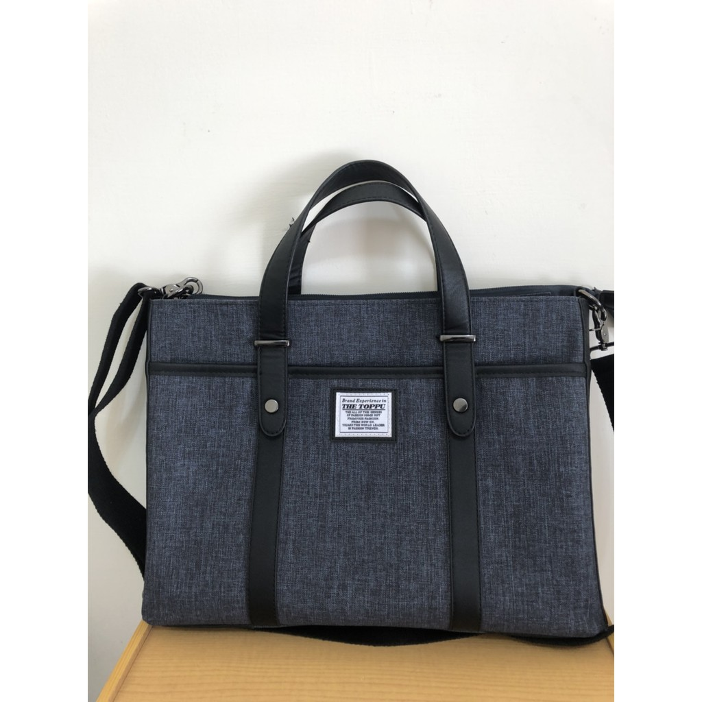 THE TOPPU 韓國品牌 24H內出貨 斜背兩用公事包 筆電包 手提包 藍色