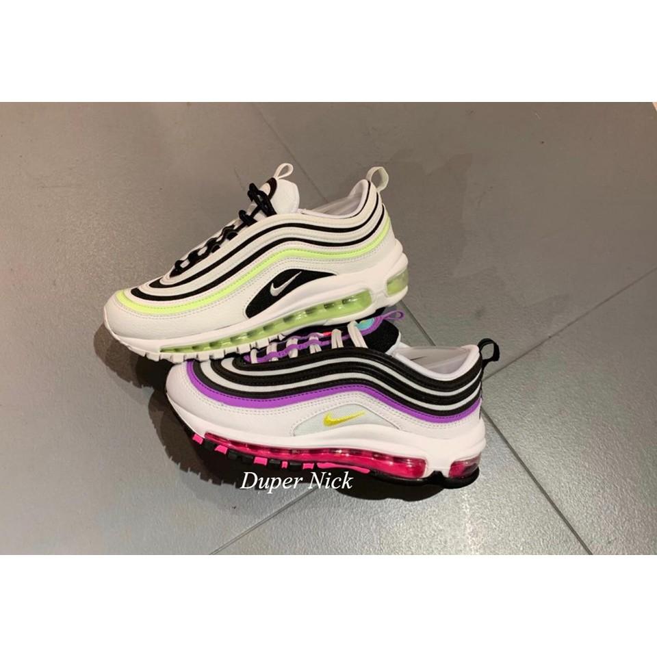 NIKE W AIR MAX 97 慢跑鞋 黑紫 白黃 螢光黃
