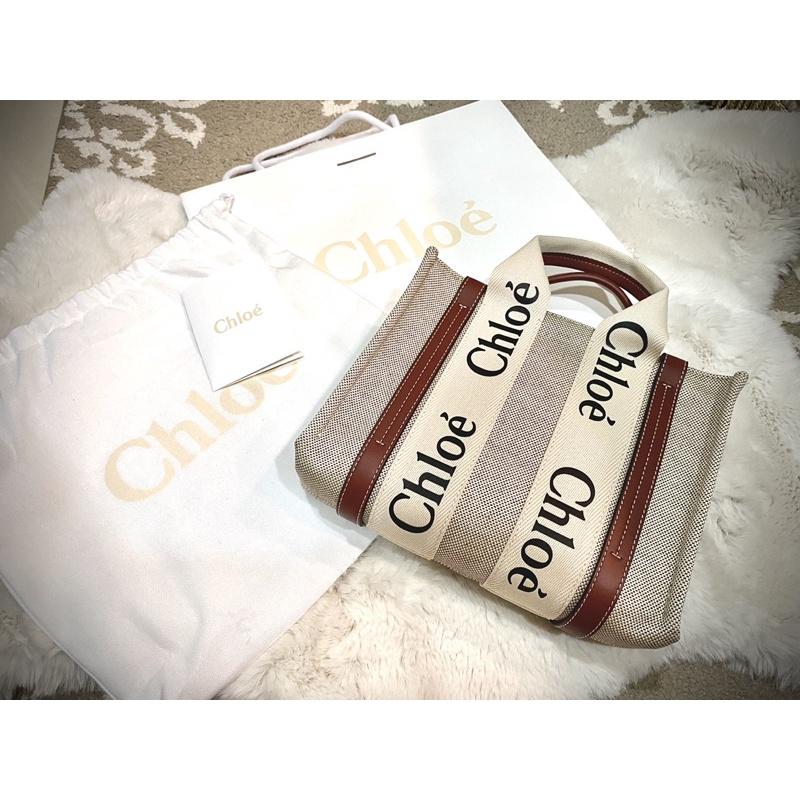 臺灣專櫃購買 現貨🇹🇼 Chloe Woody tote 托特包 小號 焦糖 咖啡 色 帆布 包 袋 S