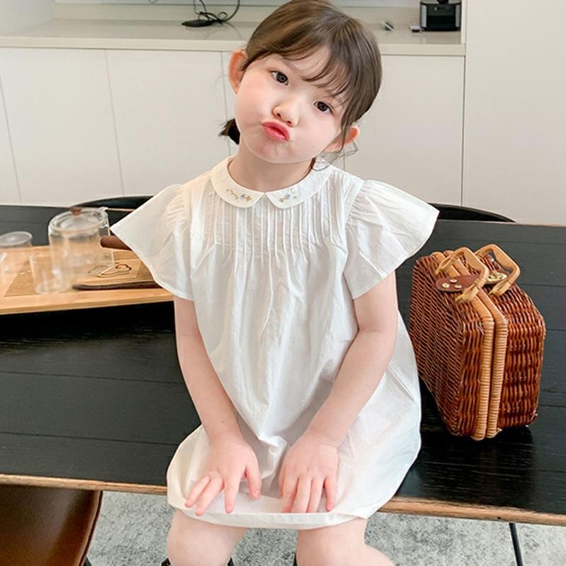 韓版女童簡約刺繡小領口娃娃裙 兒童夏季純色休閒連衣裙 女孩可愛裙子【IU貝嬰屋】