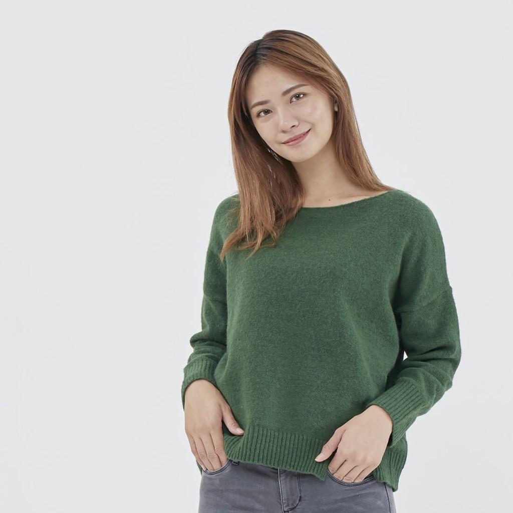 Tess寬鬆一字領針織上衣/綠
