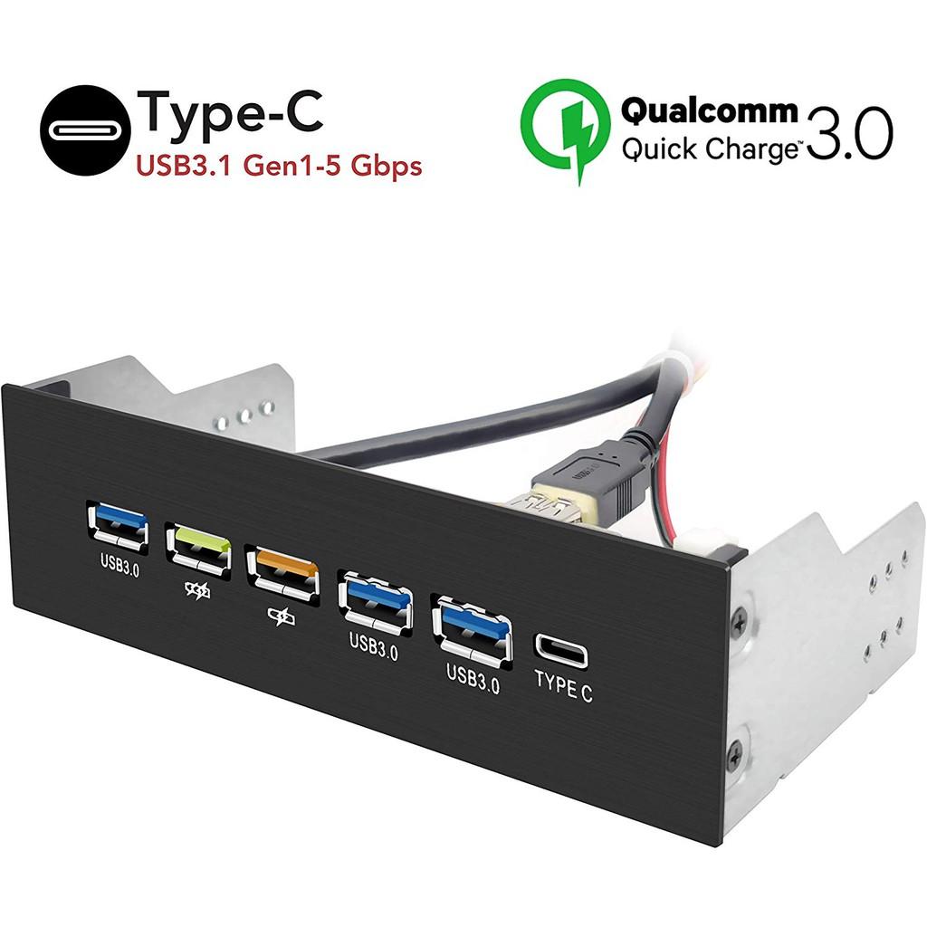 EZDIY-FAB USB 3.0 Gen1 HUB 5.25內部前面板1 Type C 18W快速充電