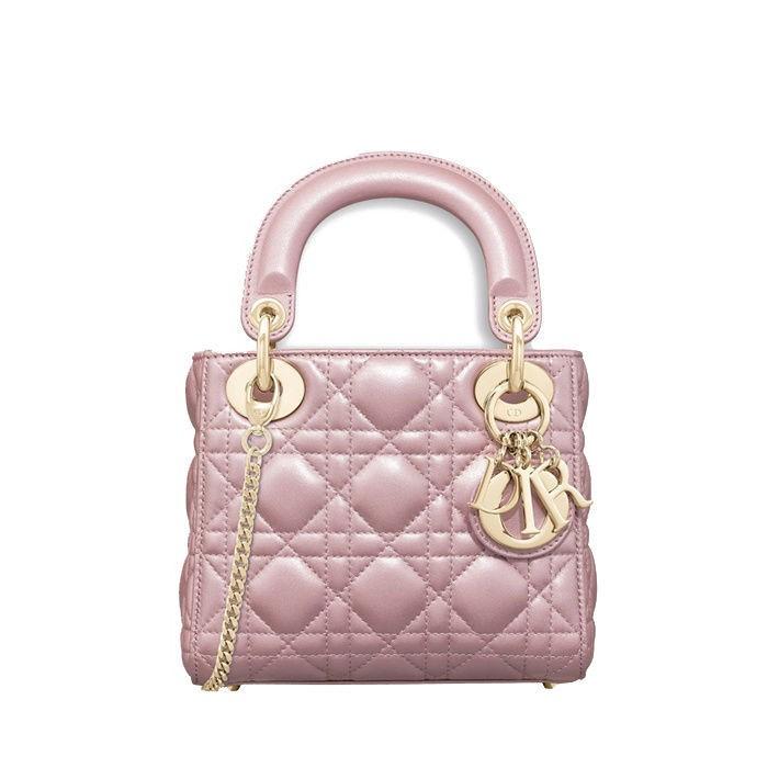 正品二手行貨九九新Dior迪奧 Lady Dior珍珠粉色藤格紋珠光羊皮鏈條包M0505OADU_M15P