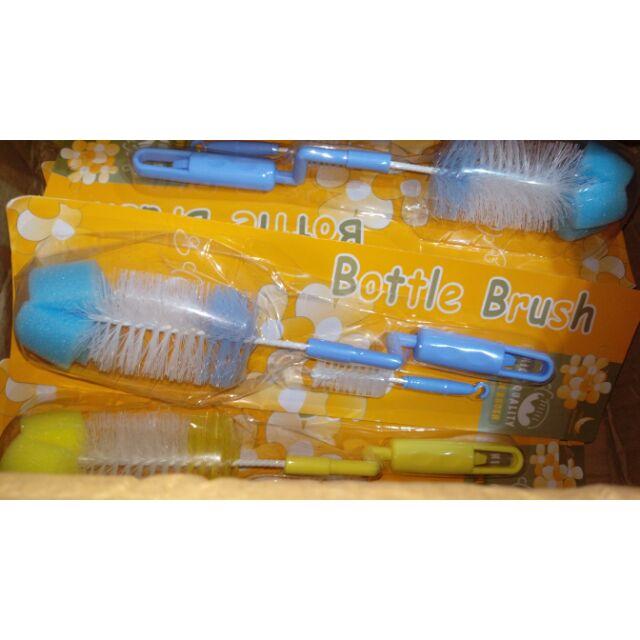 (* - *)~全新現貨 奶瓶刷兩件組 大的可轉 旋轉奶瓶刷 奶嘴頭刷子