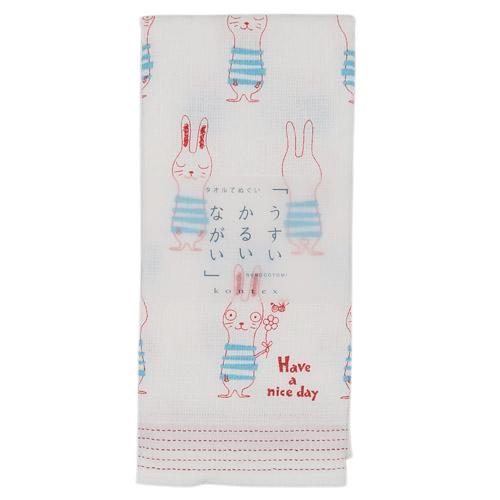 [偶拾小巷] 日本製 今治毛巾 多用途紗布長毛巾 薄輕長33x100cm - 兔子