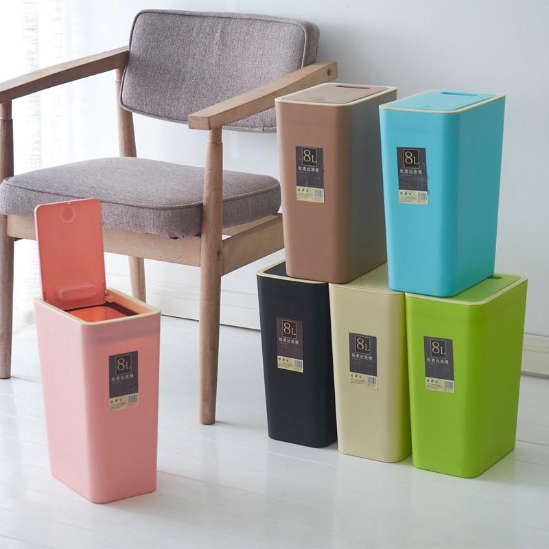 熱賣滿299免運新款上市 創意家用垃圾桶12升按壓垃圾桶客廳中號有蓋長方形塑料家用垃圾桶