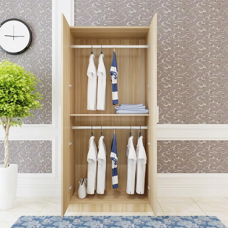 HOT-兩門衣柜實木質平開組裝簡約現代經濟型成人出租房2門掛衣服柜子