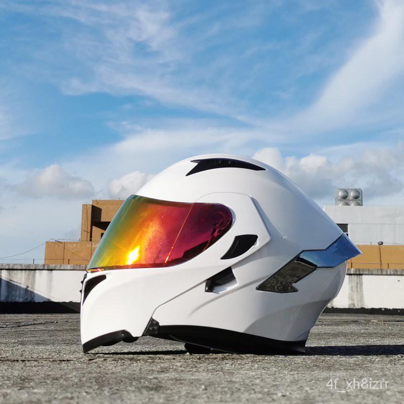 (限時免郵)Orz頭盔男女電動摩托車揭面盔全盔尾翼半盔安全帽個性冬季機車灰
