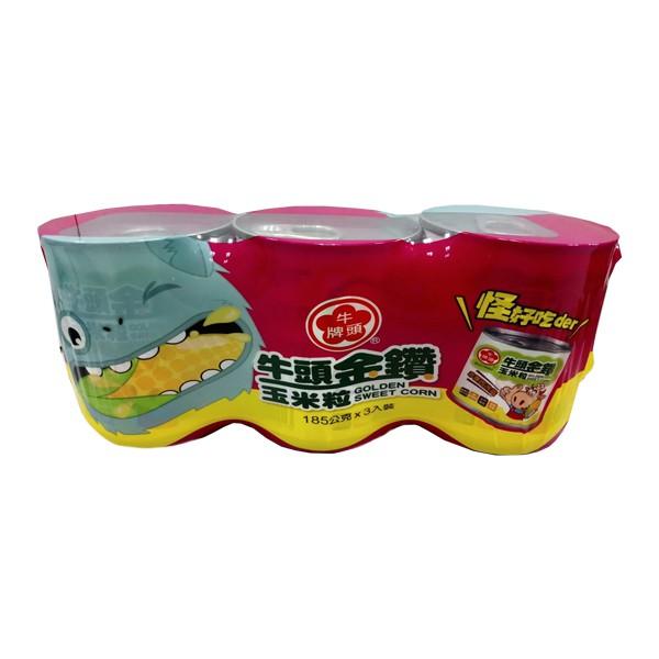 牛頭牌金鑽玉米粒易開罐 185gx3入  【大潤發】