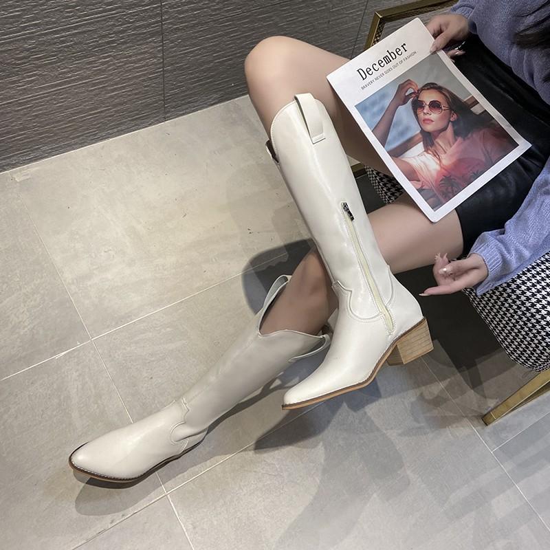 長筒靴女不過膝顯瘦春秋單靴2020年新款小個子粗跟騎士靴高筒長靴
