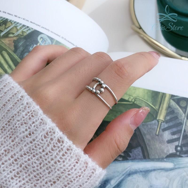 【與之交錯】925純銀戒指 Chis Store 線條戒指 麻花戒指 指環 抗過敏 韓國 簡約 可調節戒指
