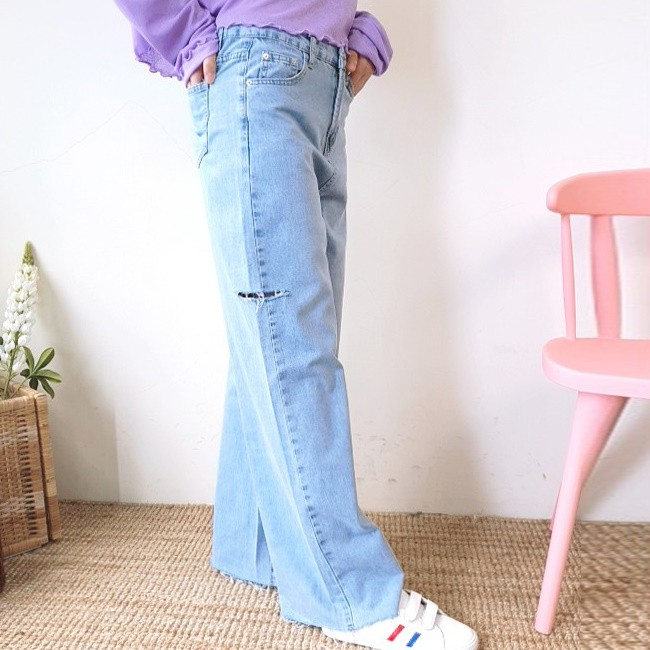 法朵Fado Shop|側割破不修邊寬褲 2533024 藍 S~XL