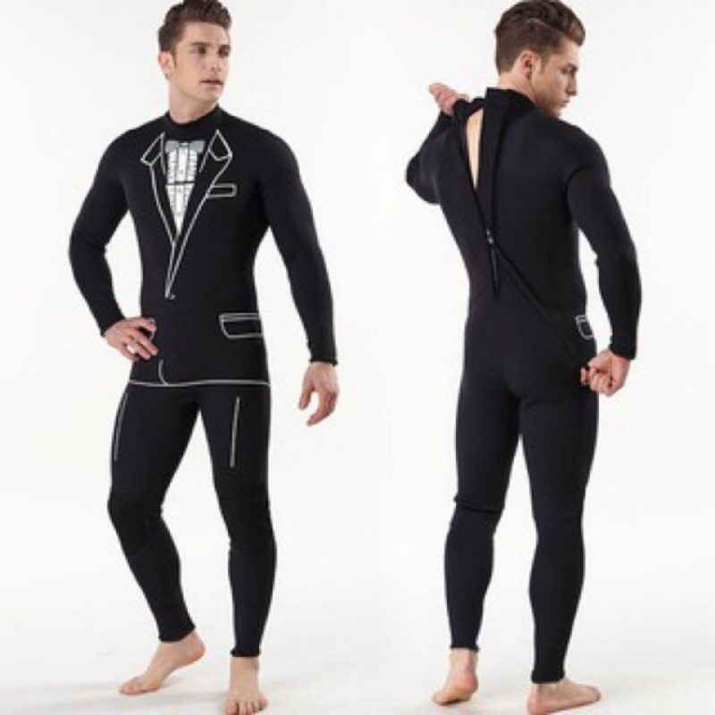 深態潛水▪️3mm造型防寒衣 男士西裝圖案連身防寒衣 潛水服