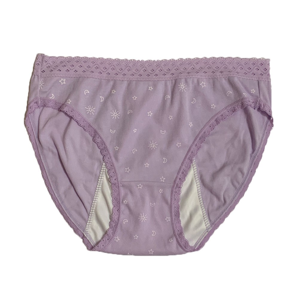 【MatchShop】台灣製日月蕾絲中腰高叉生理褲-淺紫