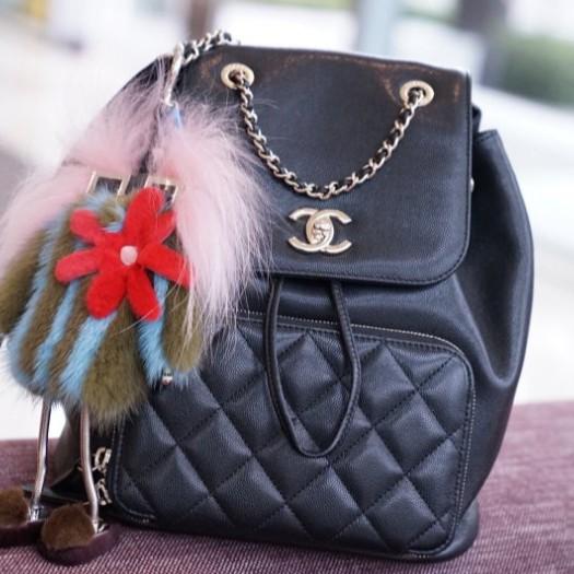 正品二手Chanel A93748 Backpack 荔枝紋後背包 黑金鍊