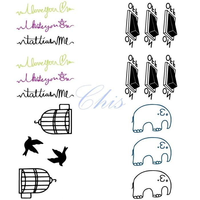 Chis Store FN【彩色個性刺青貼紙】韓國男女性感小清新原宿風英文字母草寫小象大象按鈕鳥籠防水紋身貼紙 水轉印