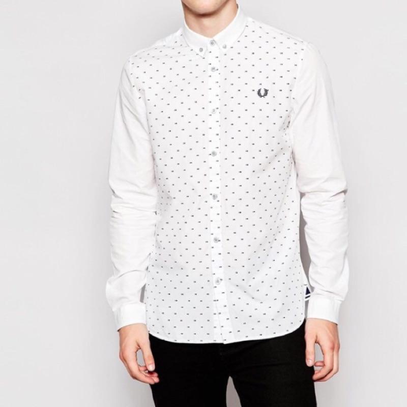 全新-英倫品牌Fred Perry 白色長袖襯衫 保證真品
