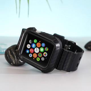 碳纖維紋 apple watch 蘋果錶帶 全透明5代44mm白色40冰川 38限定一體式保護套