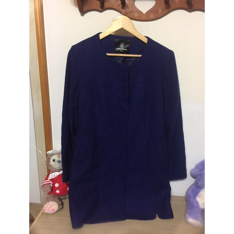 伊蕾 iley 藍紫色 羊毛 薄 大衣 外套 XL碼