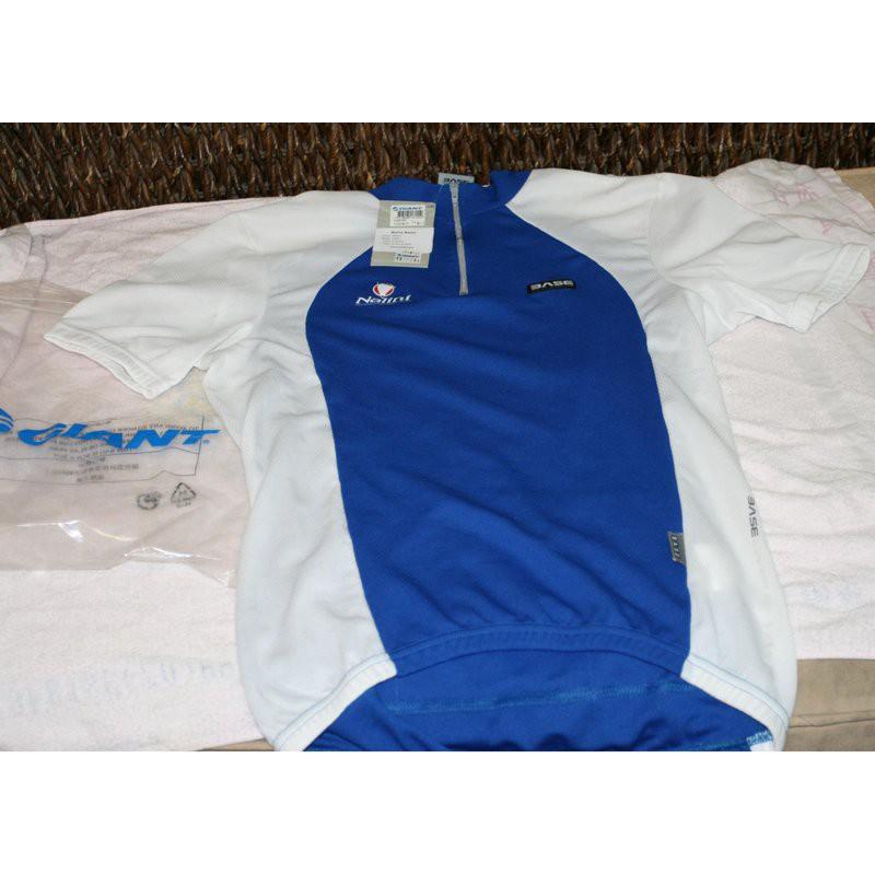 全新Giant藍白色短袖車衣,自行車車衣,Nalini 自行車車衣 L,單車衣,男款自行車衣 衣服邊邊的MARK 掉色