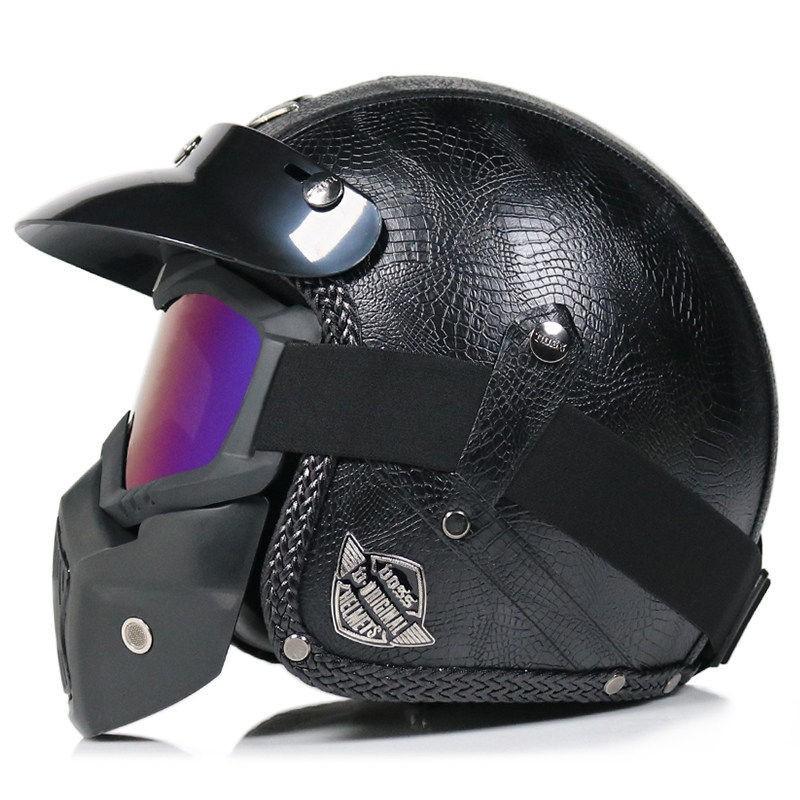 安全帽 頭盔 機車頭盔 VOSS哈雷頭盔男摩托車復古機車手工PU皮3/4半盔四季女灰太子成人