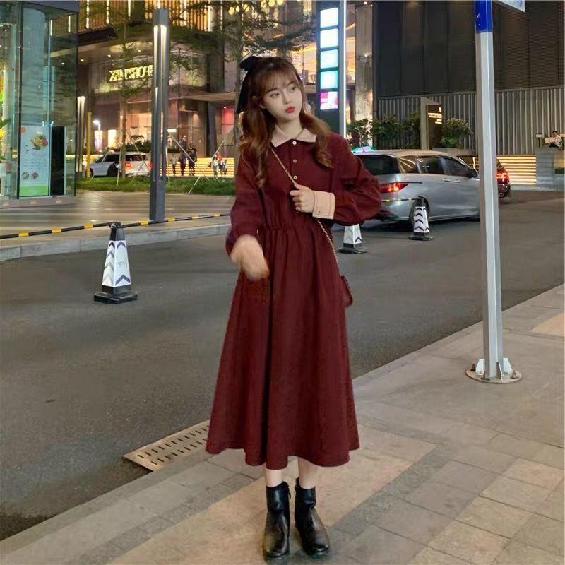 復古洋裝 長袖洋裝 氣質洋裝 連衣裙 秋冬新款胖MM法式小眾桔梗連衣裙大碼遮肚顯瘦赫本風燈芯絨長裙