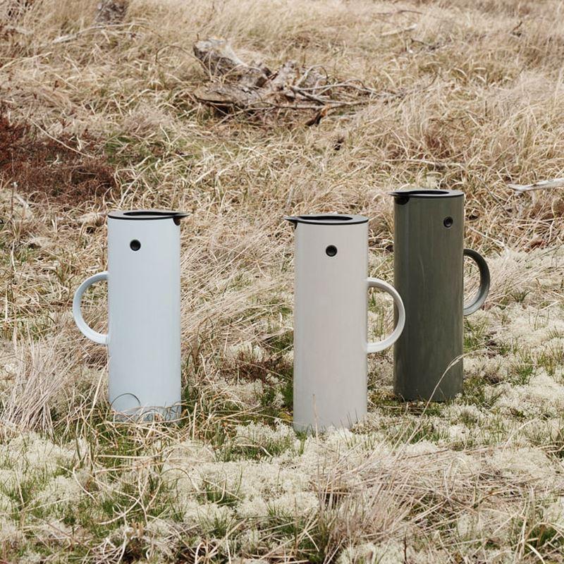 精選好物~特價~丹麥進口Stelton EM77啄木鳥水壺保溫壺北歐彩色玻璃內膽熱水壺小