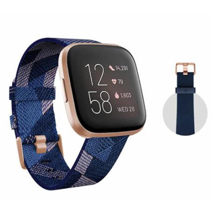 Fitbit 健康運動智慧手錶 雙錶帶版 Versa 2 金框藍底粉紅編織錶帶 W126762