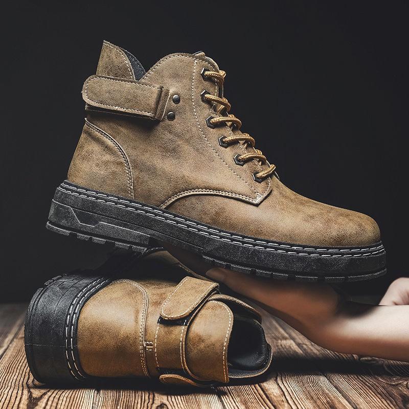 【帥氣 時尚】馬丁靴男士工裝靴軍靴英倫風復古中幫男靴子秋季高幫男鞋雪地短靴