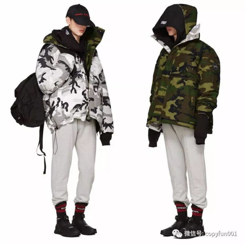 Vetements x加拿大鵝合作款迷彩雙面穿羽絨外套
