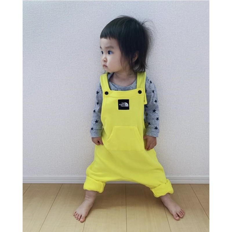 [二手]The north face kids黃色全新吊帶褲 80cm