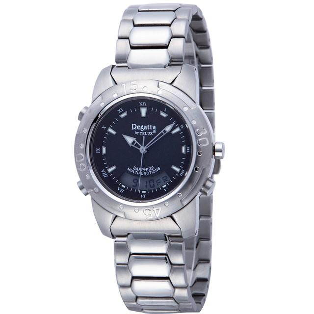 台灣品牌手錶腕錶【TELUX鐵力士】飛行員系列男腕錶手錶37MM台灣製造石英錶93512W-BK鋼帶黑面