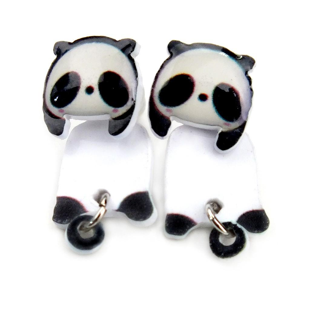 韓版創意手作 卡通可愛熊貓 耳釘 趣味耳環 耳飾 2用款 艾豆 NNB5152