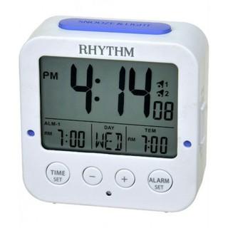 RHYTHM CLOCK 麗聲白色方型液晶日期星期貪睡雙鬧鈴溫度自動感光照明冷光鬧鐘 型號:LCT082NR03 新北市