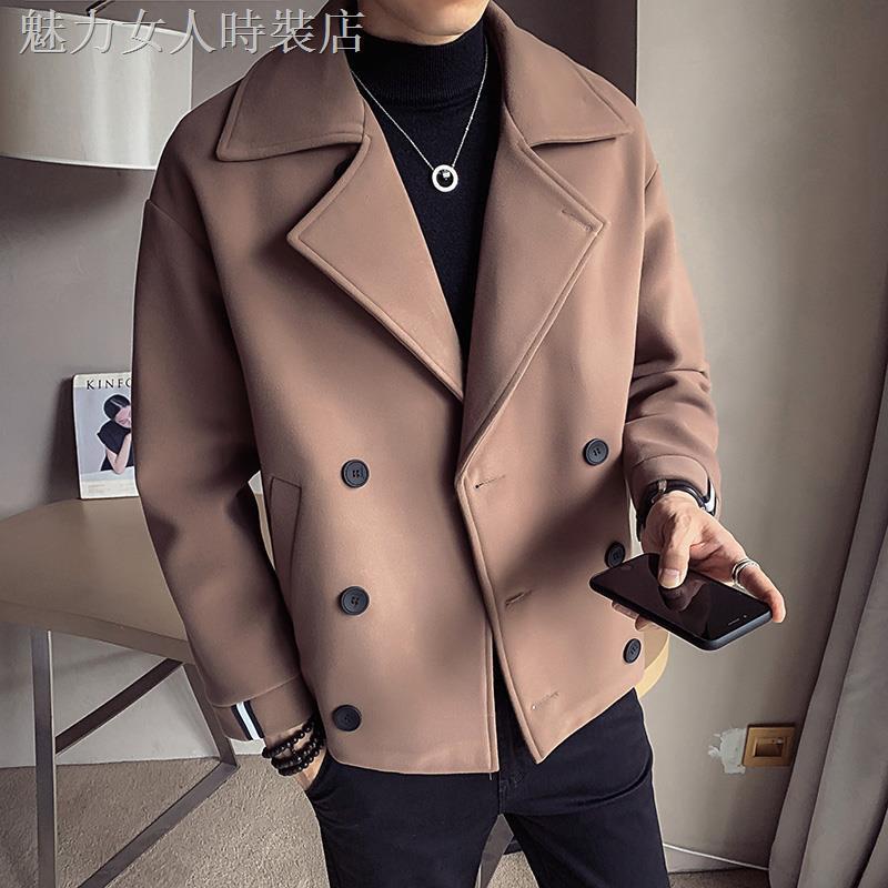 ✿毛呢大衣男短款春秋冬季加厚外套男韓版潮流修身百搭呢子風衣男裝