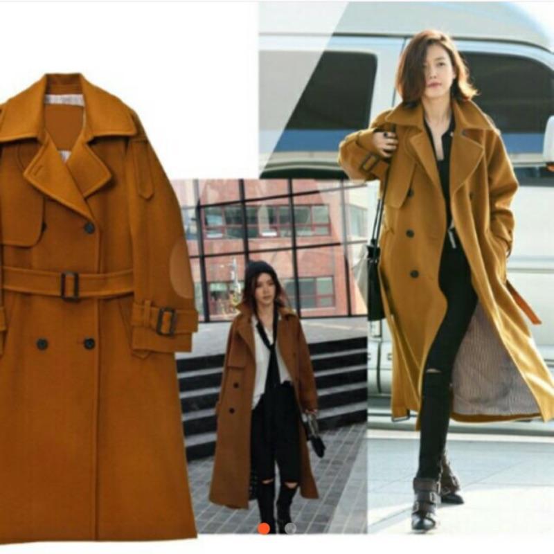 咖啡色純羊毛長版大衣